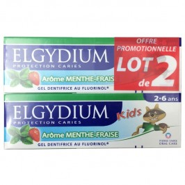 Elgydium Dentifrice Kids Protection Caries Arôme Menthe-Fraise Lot de 2x50ml
