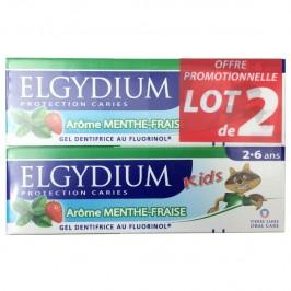 Elgydium Dentifrice Kids Protection Caries Arôme Menthe-Fraise Lot de 2x50ml