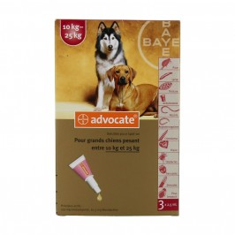 Bayer Advocate Grands Chiens 10 à 25 kg 3 pipettes