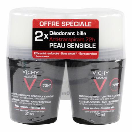 Vichy déodorant anti-transpirant bille 50ml x2