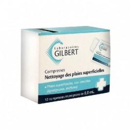 Gilbert Nettoyage des Plaies Superficielles 12 Compresses