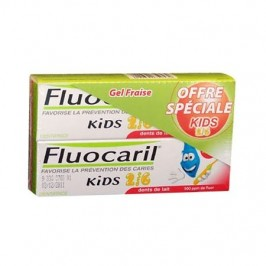 Fluocaril kids dentifrice enfant 2 à 6ans gel fraise duo 50ml
