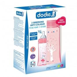 Dodie Coffret Initiation + Fille 2 Biberons Anti Coliques Débit 3 Col Large 2X 330 ml