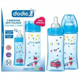 Dodie Coffret Initiation + Garçon 2 Biberons Anti Coliques Débit 3 Col Large 2X 330 ml