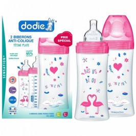Dodie Sensation + Coffret Biberons Fushia Cygnes Fille 2X 330 ml