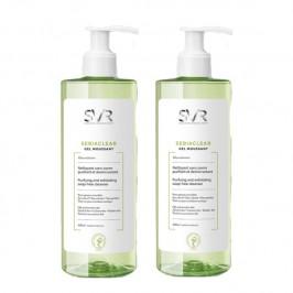 SVR sebiaclear gel moussant nettoyant sans savon purifiant et désincrustant lot de 2X400ml
