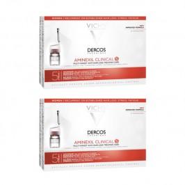 Vichy dercos aminexil clinical 5 femmes soin traitant anti-chute multi-cibles lot de 2X21 monodoses