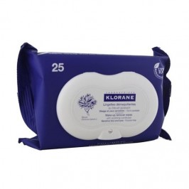 Klorane Lingettes Démaquillantes Apaisantes au Bleuet Pack de 25 Lot de 2