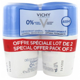Vichy déodorant minéral roll-on 48h tolérance optimale 50ml x2