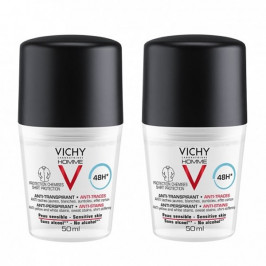 Vichy homme déodorant 48h anti-transpirant anti-traces 50ml x2