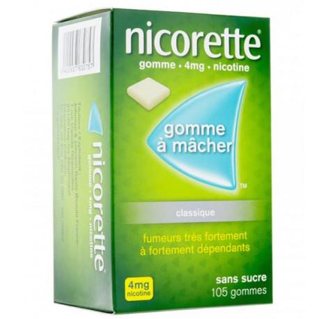 Nicorette 4mg Sans Sucre 105 gommes à mâcher