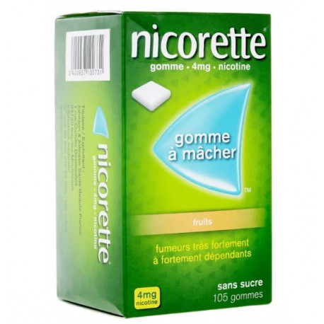 Nicorette Fruits 4Mg Sans Sucre 105 Gommes à Mâcher