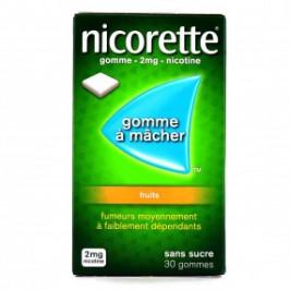 NICORETTE FRUITS 2mg SANS SUCRE 30 gommes à mâcher médicamenteuse édulcorée au xylitol et à l'acésulfame potassique
