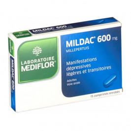 Mediflor mildac 600mg millepertuis 15 comprimés enrobés