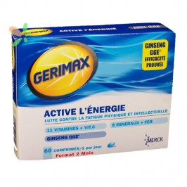Merck gerimax active énergie adultes 60 comprimés
