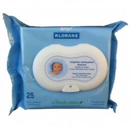 Klorane Lingettes nettoyantes douceur visage et mains 25 lingettes