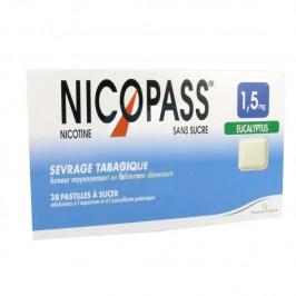 Nicopass 1.5Mg Sans Sucre Eucalyptus 36 Pastilles Édulcorées
